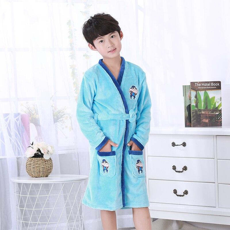 Детский халат в розницу! Детский мягкий бархатный халат с рисунком для мальчиков и девочек, 1 предмет, пижама Коралловая детская одежда для малышей - Цвет: color at picture