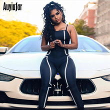 Auyiufar Women Sexy Backless Jumpsuit Fashion Strap Patchwork Reflective Striped Rompers Solid Fitness Workout Sporty Overalls