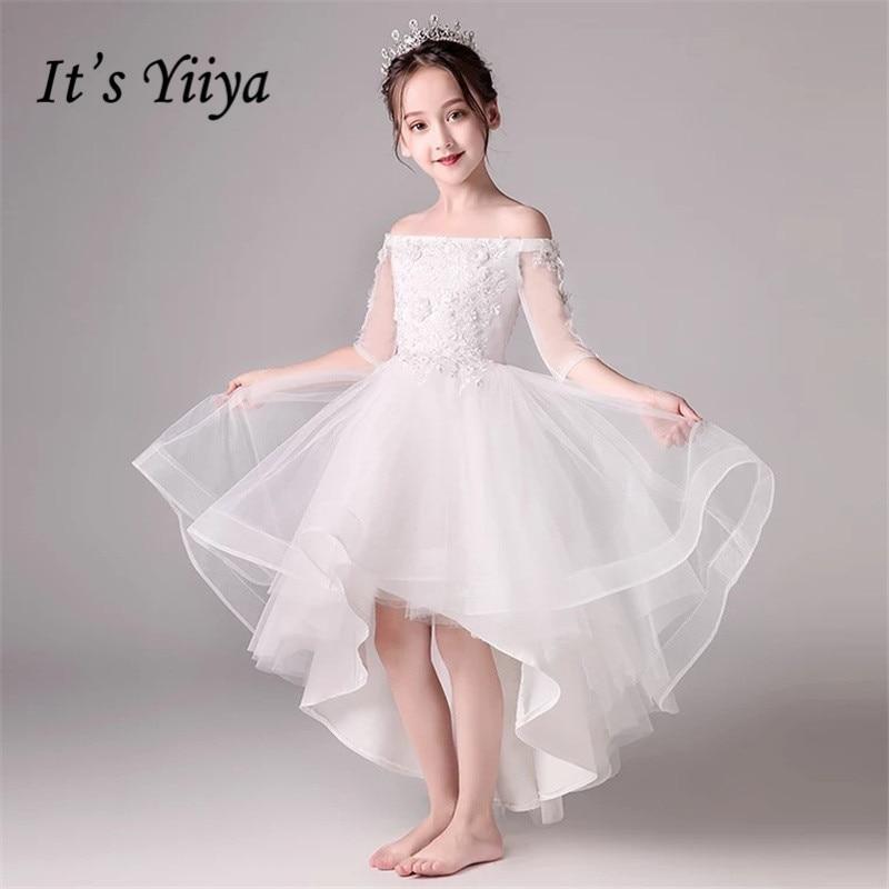 Flower Girl Dresses It's Yiiya B007 Girl Dress For Wedding High Low Length O-neck Ball Gown Tulle Kid Party Communion Dress