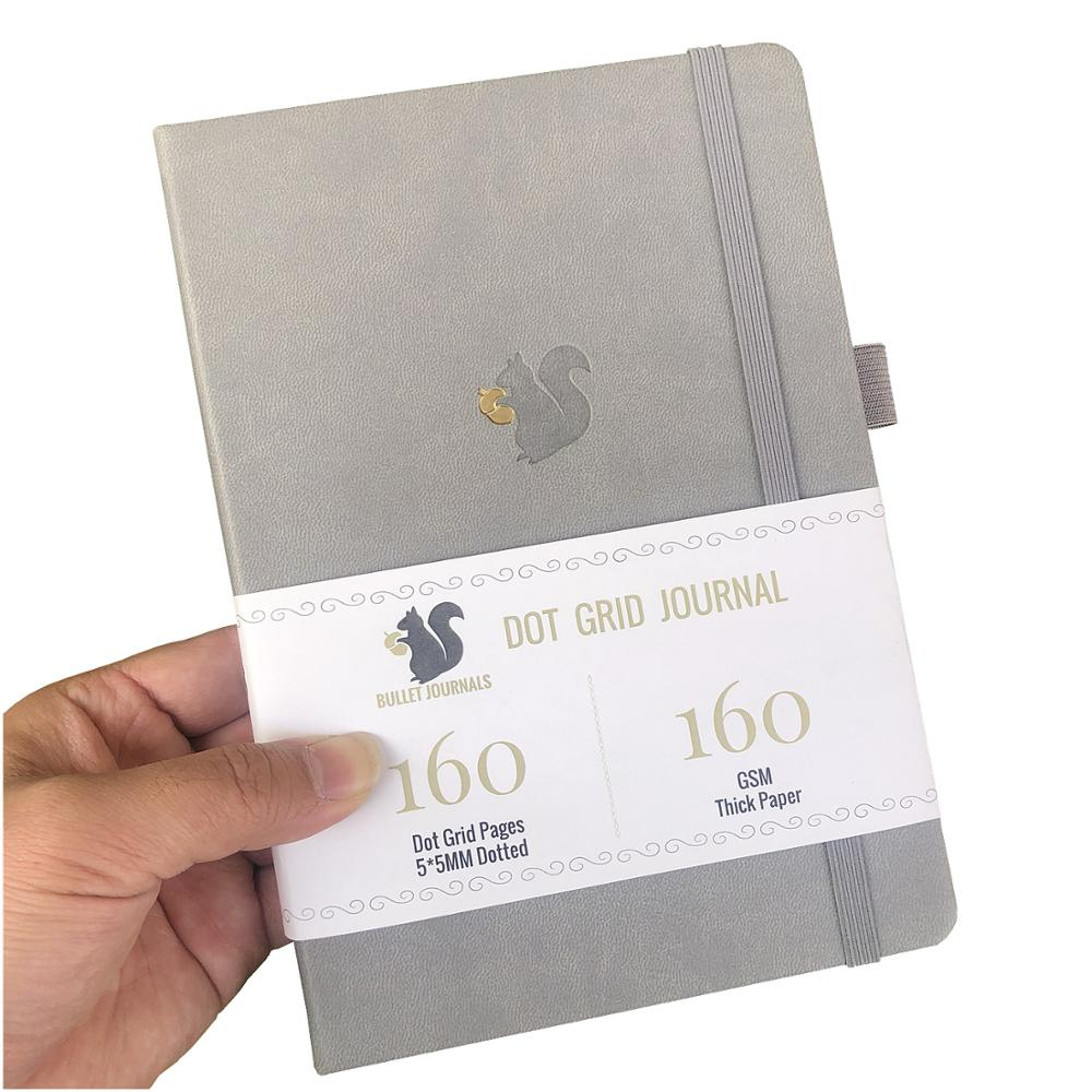 BUKE Squirrel Bullet Planner Dot Grid Notebook Journal and Drawing Sketcbook - PU Leather, 160gsm Thick Paper