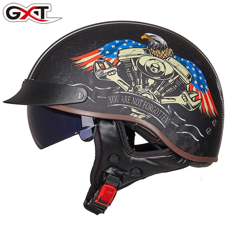 GXT casque moto homme demi casque couverture rétro voiture électrique femme locomotive Prince été casque Harley mollet de MT-4