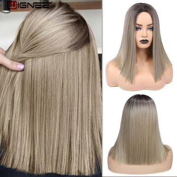 Wignee 2 Tone Ombre Brown Ash Blonde Synthetic Wig for Women Middle Part Short Straight Hair High Temperature Cosplay Hair Wigs wignee 3 tone ombre women wig black to brown blonde middle part heat resistant synthetic wigs cosplay hair for african american