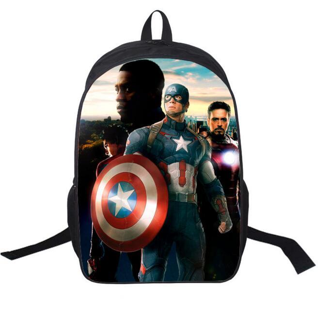 New 16-inch Mochila School Kids Backpack Captain America Bag Avengers Backpack Children School Bags For Boys Supports Custom