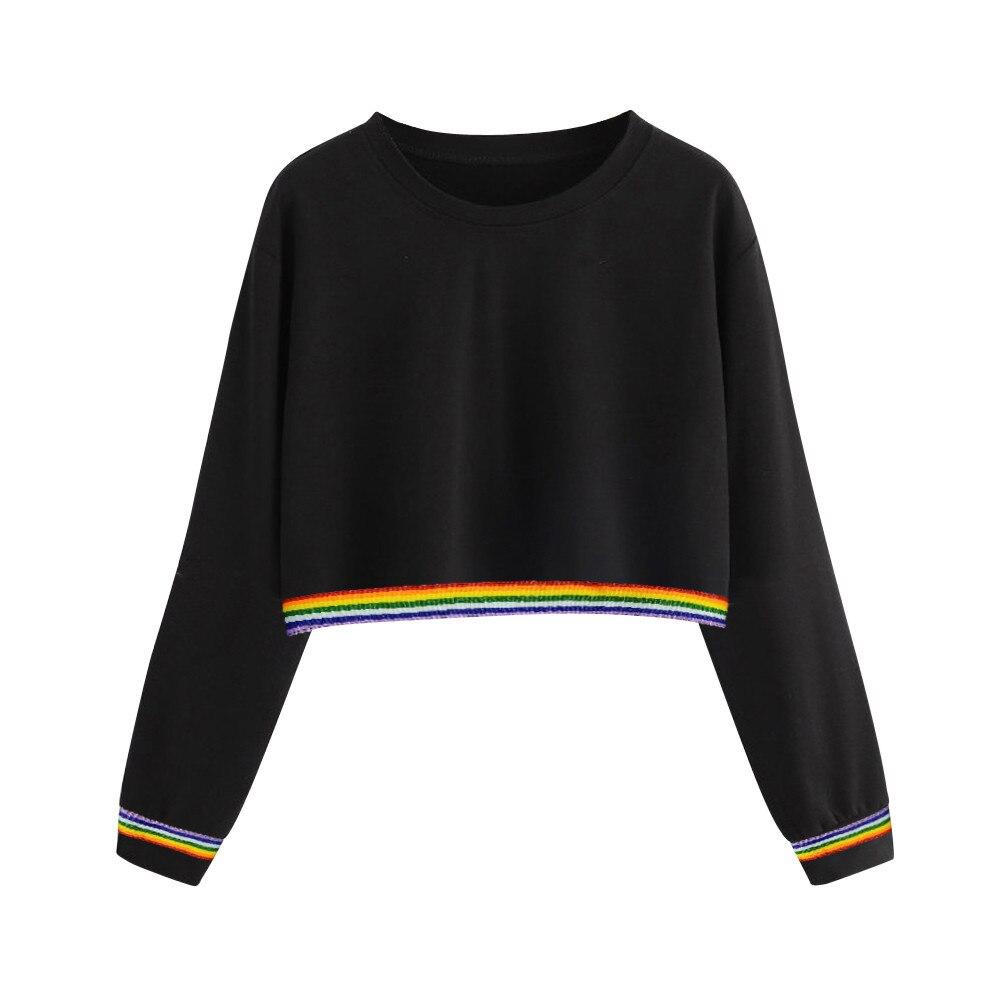 JAYCOSIN Fashion Street Ladies Sweatshirt Solid Color Back Ribbon Ribbon Rainbow Long Sleeve Sweatshirt Casual Comfort Style