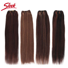 Sleek Remy Brazilian Natural Straight Human Hair In Weaves Bundles Hair P4/27 and blone P6/27 Hair Extension 10 To 26 Inches(China)
