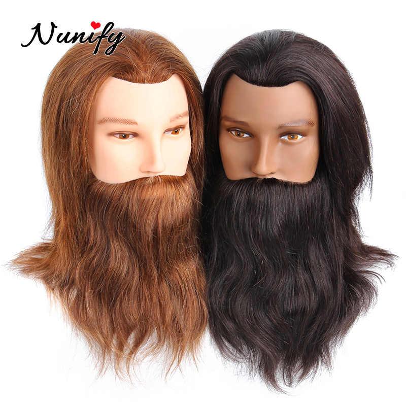 Nunify Mannequin การฝึกอบรมหัวจริง 100 และเครา Manequin ผมตุ๊กตา Manikin HEAD สำหรับตัดผม