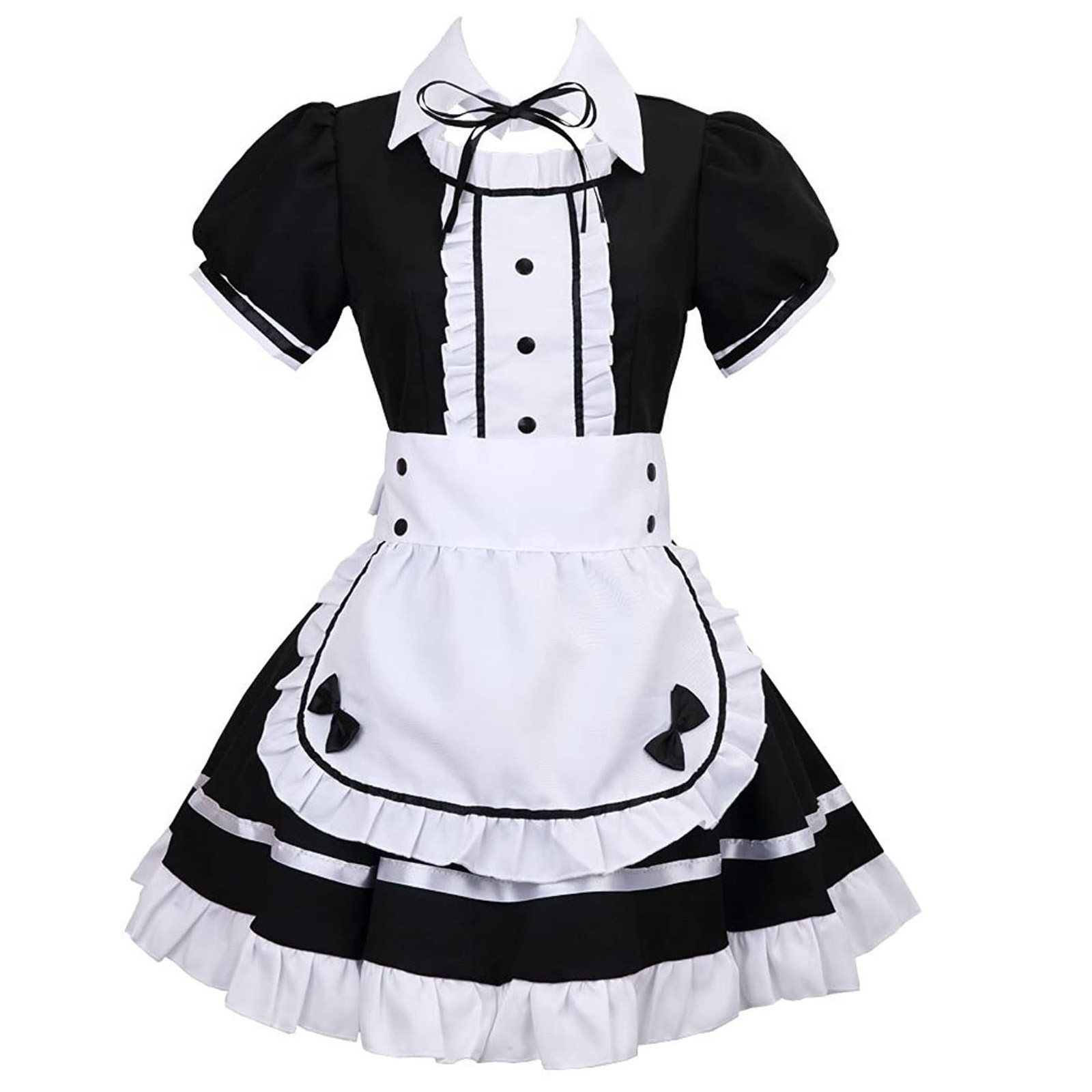 Apron Fake Collar Bowknot Dress Babydoll Underwear Clothes Underwear Maid Cosplay Dress Exotic Costume Women Headdress
