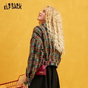 Image 2 - ELFSACK Green Plaid Colorblock Golden Silk Women Coats 2019 Autumn Single Breasted Long Sleeve Fringe Office Ladies Outwear