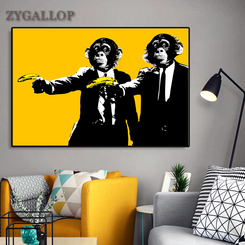 Banana Monkeys Canvas Paintings Abstract Chimps Animal Wall Posters And Prints Yellow Graffiti Art Wall Pictures for Home Design