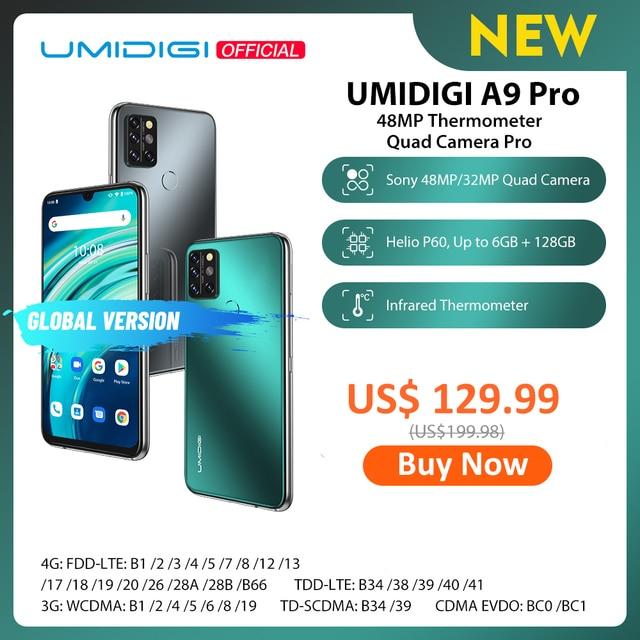 "UMIDIGI A9 Pro 32/48MP Quad Camera 24MP Selfie Camera 6GB 128GB Helio P60 Octa Core 6.3"" FHD+ Global Version Cellphone"