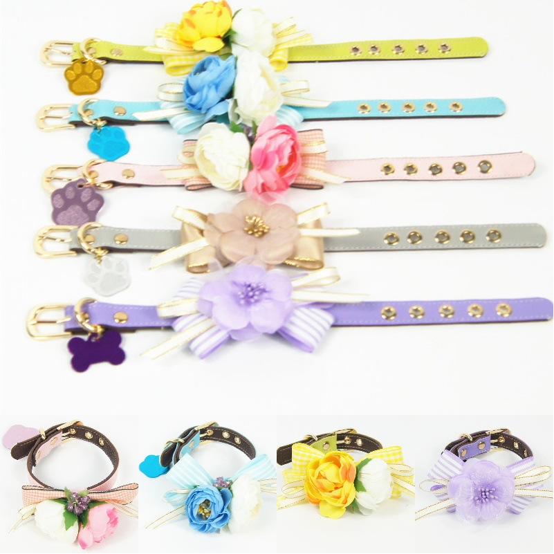 Immortal Beautiful Handmade Flower Bow Colorful Leather Pet Collar Dog Traction