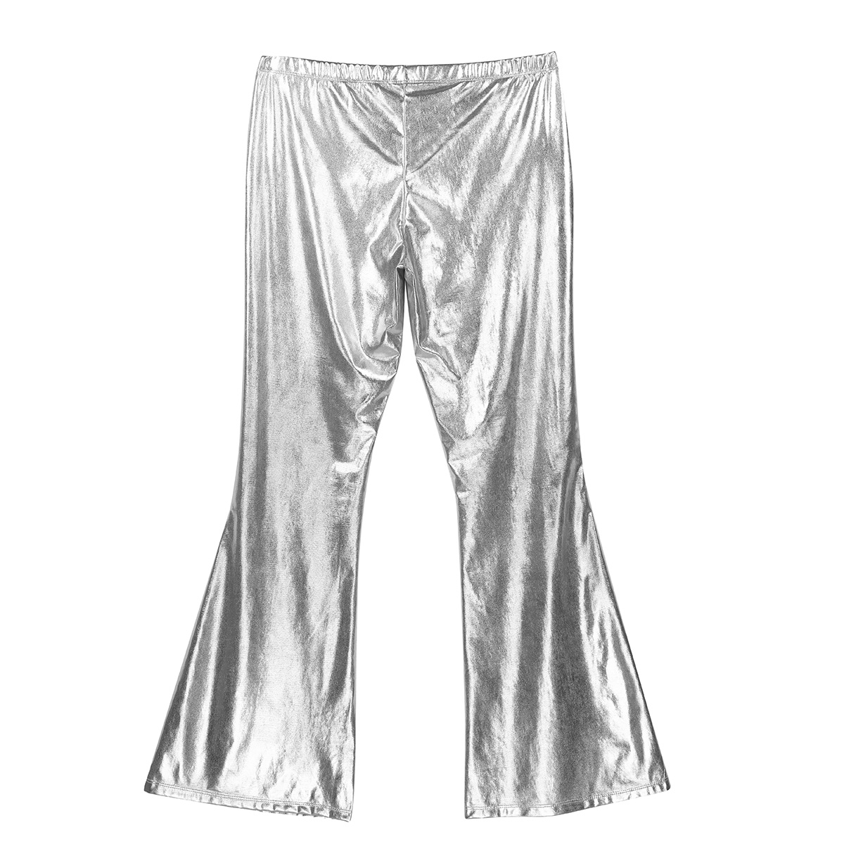 ChicTry Adults Mens Shiny Metallic Disco Pants with Bell Bottom Flared Long Pants Dude Costume Trousers for 70's Theme Parties 50