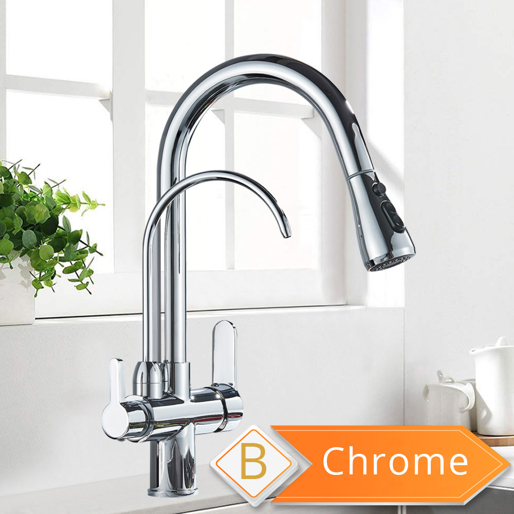 Hb5c8626854ba4c5f8052681e2853cdb5L Black and Golden Filtered Crane For Kitchen Pull Out Sprayer drinking water Three Ways Water Filter Tap Kitchen Faucet hot cold