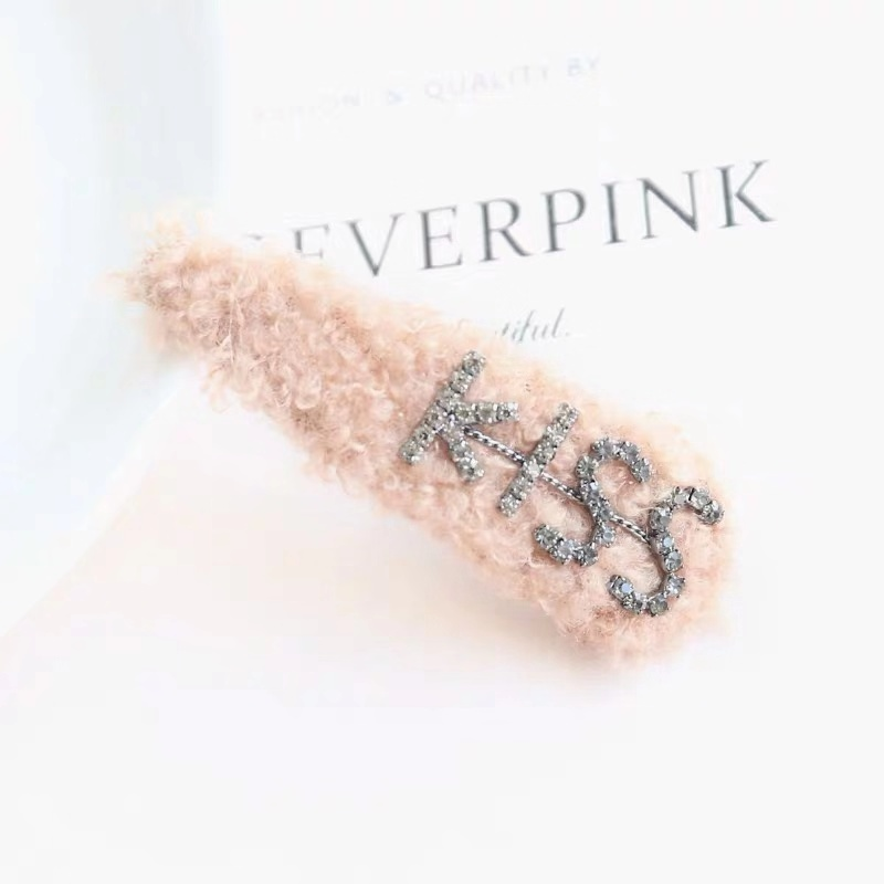 1PC INS Fashion Lambs Wool Waterdrop Fluffy Plush Colorful Hair Clip Hollow Barrette Hairpin Hair Accessories for Children Girls in Hair Accessories from Mother Kids