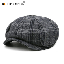 BUTTERMERE Men Newsboy Cap Unisex Beret Wool Hat Tweed Gatsby Octagonal Plaid Women Vintage Brand Winter Spring Duckbill Hats