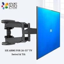 بيشي تلفزيون جدار يتصاعد قوس لمعظم 26 55 بوصة شاشة مسطحة الحركة الكاملة مع قطب توضيح 6 قوس الأسلحة VESA 400x400mm