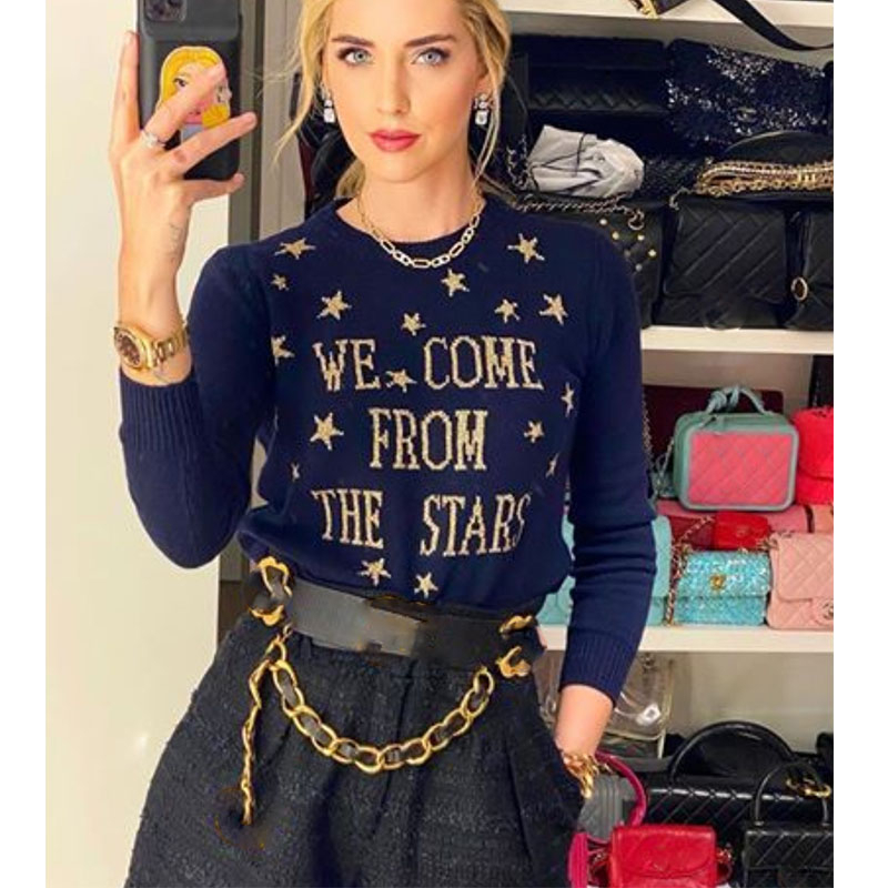 Cosmicchic Women Stars Pullovers 100% Wool Long Sleeve Knitted Sweater Gold Star Letter Pattern Jumpers Navy Blue Soft Knitwear