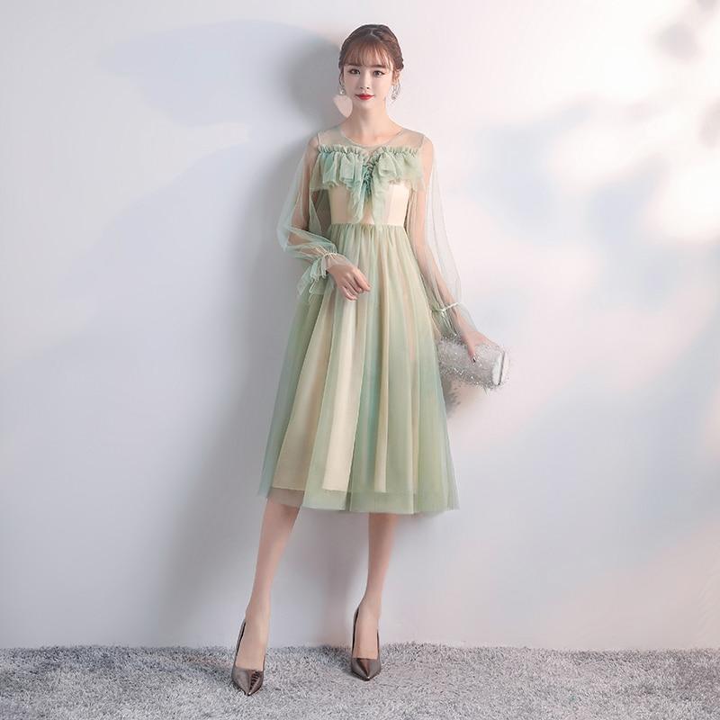 Bridesmaid Dress Long Sleeves Tulle Elegant Dress Women For Wedding Party A-Line Tea-Length Sister Dress Prom Azul Royal Vestido