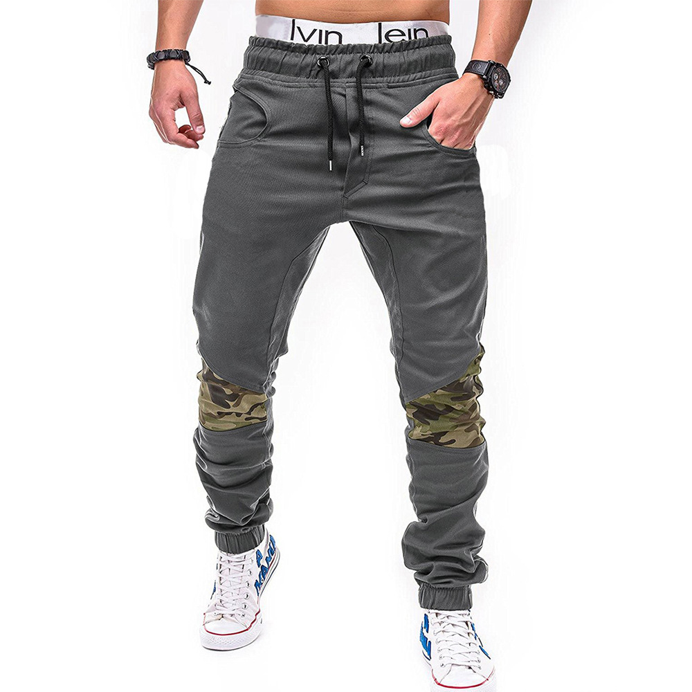 2018 Spring And Autumn New Style Men Fashion Casual Camouflage Joint With Drawstring Belt Cotton Large Size Beam Leg Casual Pant