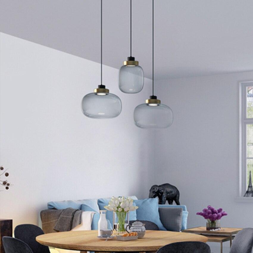 Postmodern LED Glass Pendant Lights Lighting Nordic Living Room Lamp Bedroom Stairs Hanging Lamp Study Decoration Light Fixtures