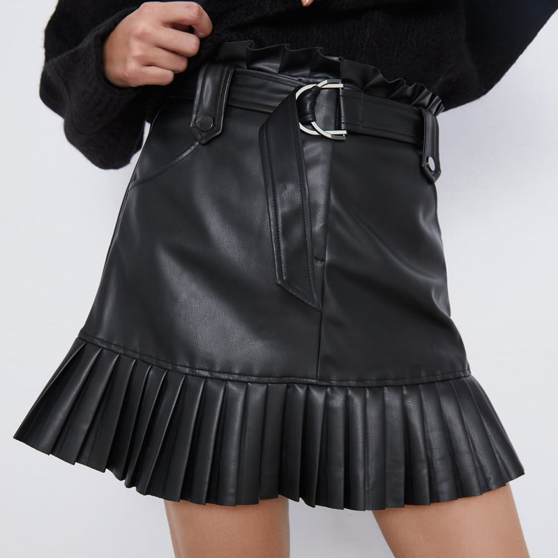 Black Fashion Faux Leather Elegant Tie Belt Waist Mini Skirts