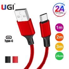 Ugi 2a carregador de cabo de carregamento rápido micro usb c tipo c cabo para samsung huawei tablet sincronização de dados 0.5m 1m 2m 3m trançado náilon vermelho