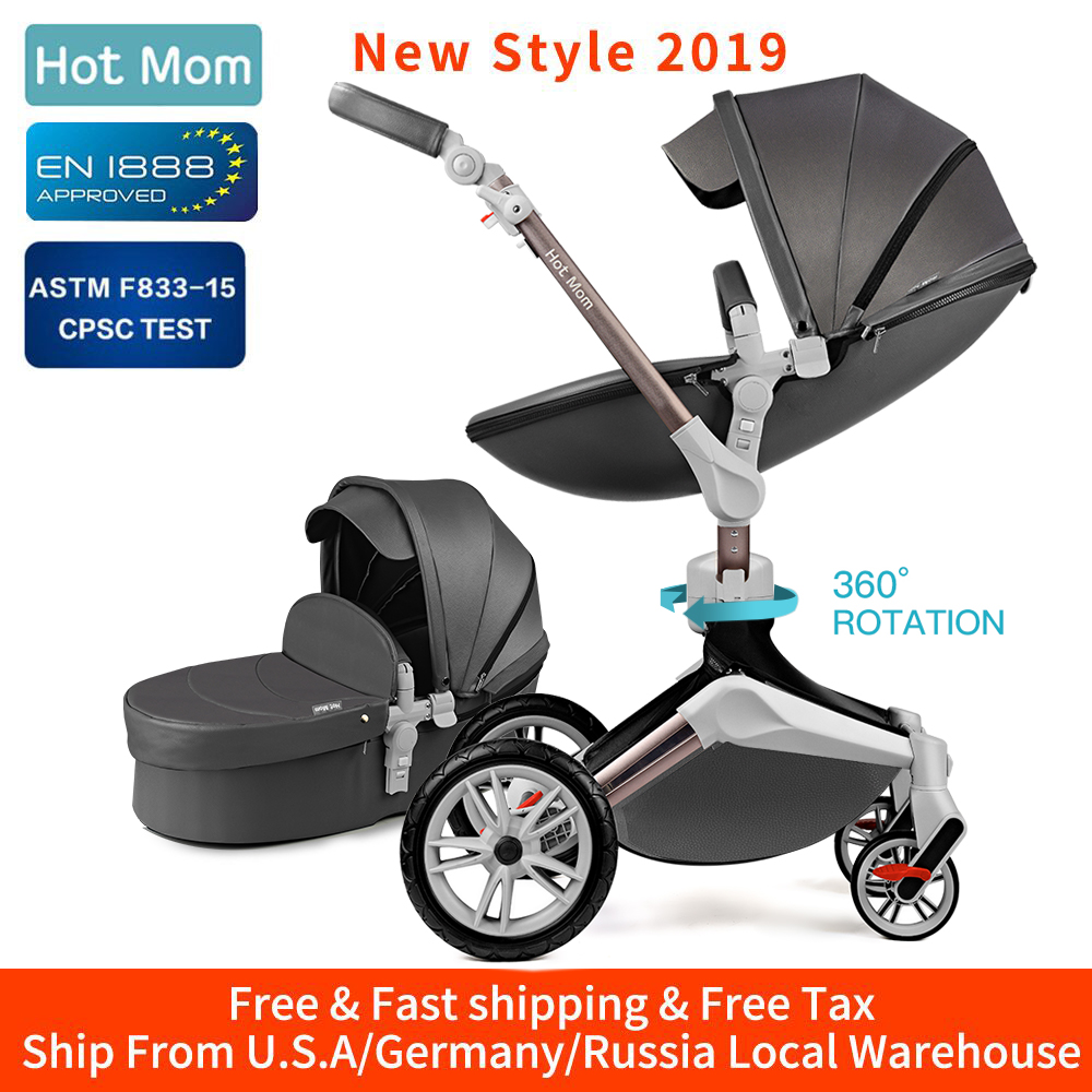 Hot Mom Baby Stroller 3 in 1 travel system with bassinet and car seat 360° Rotation Function,Luxury Pram F023