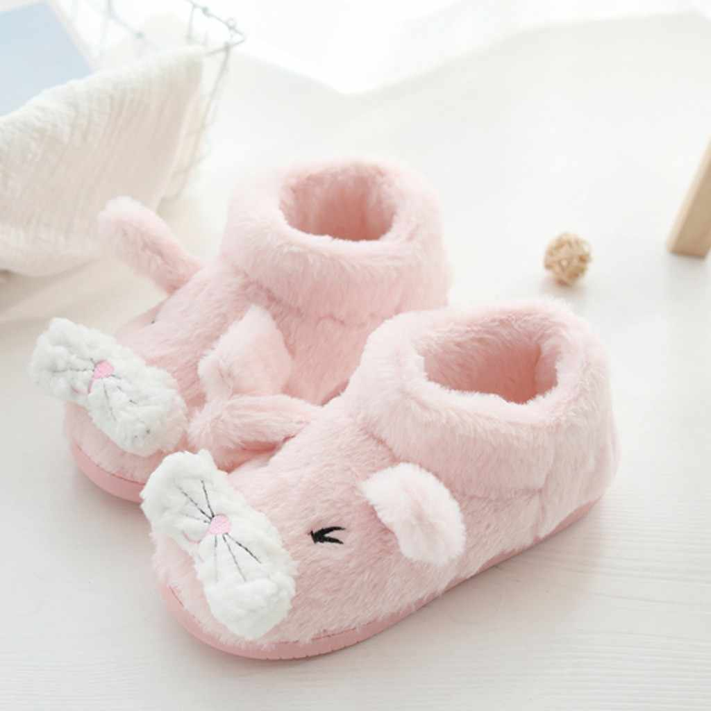 Soft Warm Winter Home Boots Cartoon Color Patchwork Mute Cute Soft Plush Bedroom Boots Ball Women Interior Boots botines mujer