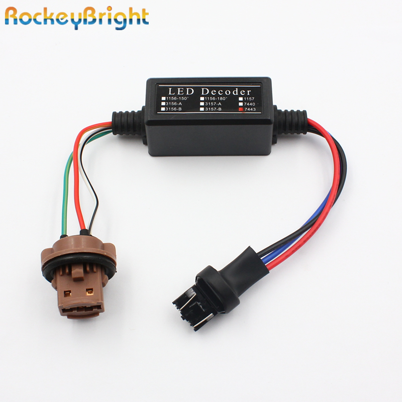 Rockeybright T20 7440 LED cancelador de luz de nevoeiro resistor decodificador 7440 7443 aviso piscando adaptador cancelador para led backup light