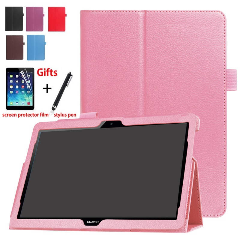 For Huawei Mediapad T3 10 BG2-U01 PU Leather Smart Stand For Huawei Mediapad T3 10 AGS-W09 L09 Tablet PC Case Cover Pen+Film