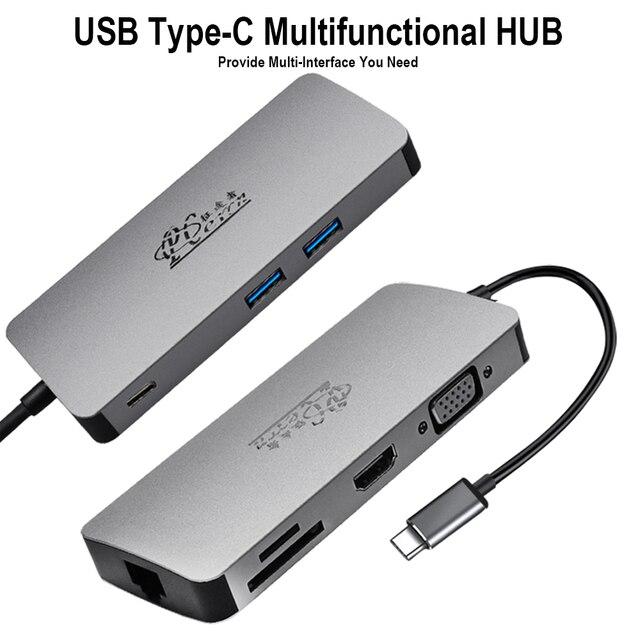 USB C HUB do USB3.0 HDMI VGA RJ45 Gigabit Ethernet SD/TF PD Adapter ładowania USB C stacja dokująca typ c hub konwerter 8 w 1