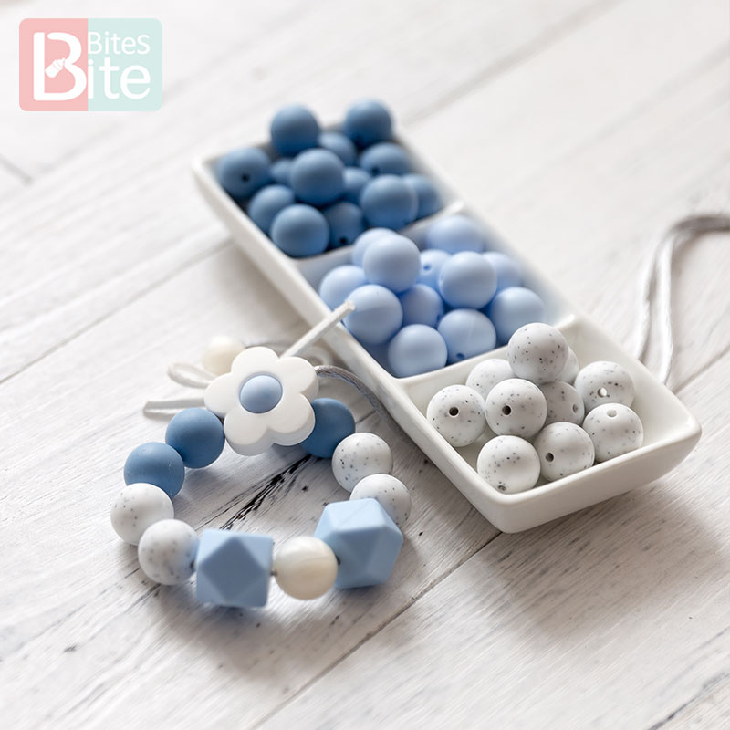 10pcs 15mm Baby Silicone Beads Granite Pearl Beads DIY Baby Teething Necklace Bracelet Pacifier Chain Accessories Teething Toys