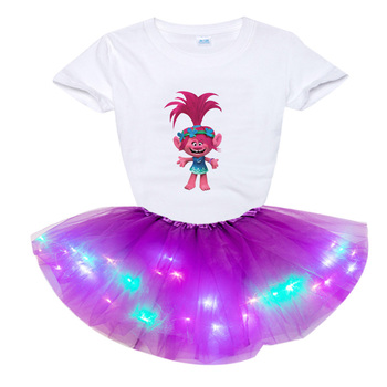 Girl Sets Trolls Costumes Princess Poppy Party Tutu Dress Light LED Kids Clothes Children Clothing Toddler Baby Outfit Cute Suit