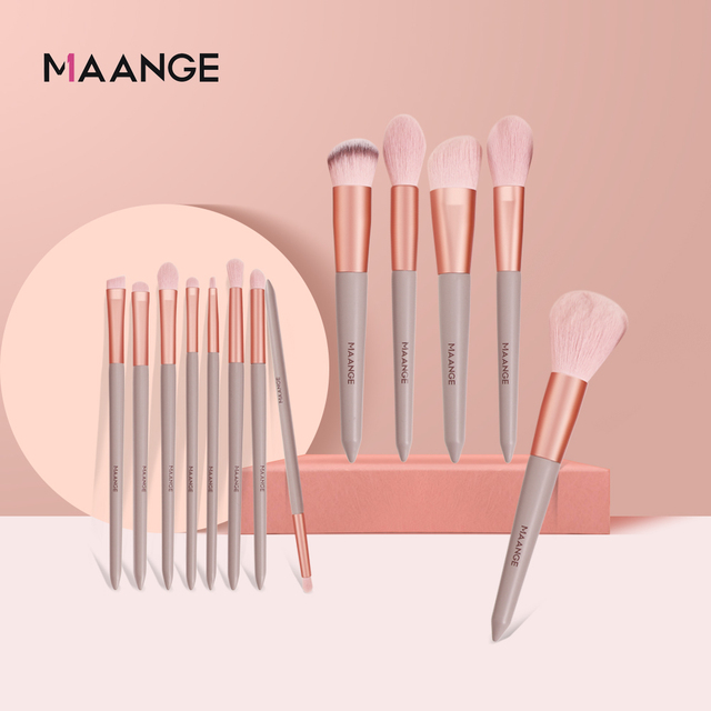 MAANGE 13pcs Quick-Drying Makeup Brush Set With Bag Soft Blush Loose Powder Highlight Eye Shadow Brush Portable Beauty Tool 5