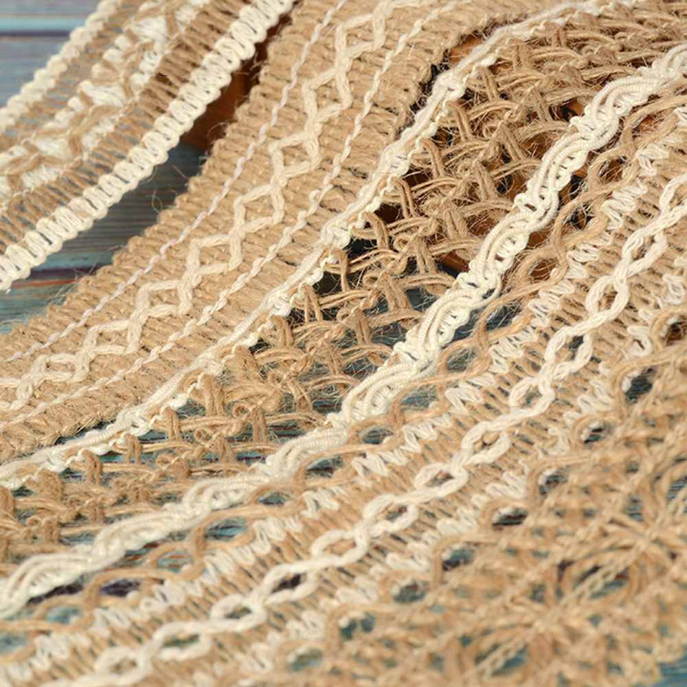 JOJO BOWS 40mm 2m Jute Burlap Ribbon Hollow Out Hemp Linen Webbing Braided Rope DIY Craft Supplies Gift Wrapping Home Decoration in Ribbons from Home Garden