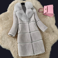 Luxury Winter Faux Fur Coat Women Thick Long Sleeve Jacket Fashion Women Fake Fox Fur Collar Outerwear Women Warm Faux Fur Coat