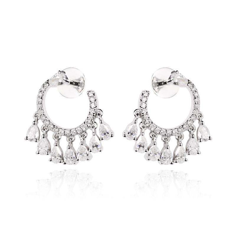 EDI Luxury Gold Diamond Drop Earrings 14K White Gold 0.58ctw G/SI Natural Diamond Pear Cut Round Cut Diamond Tassel Earrings