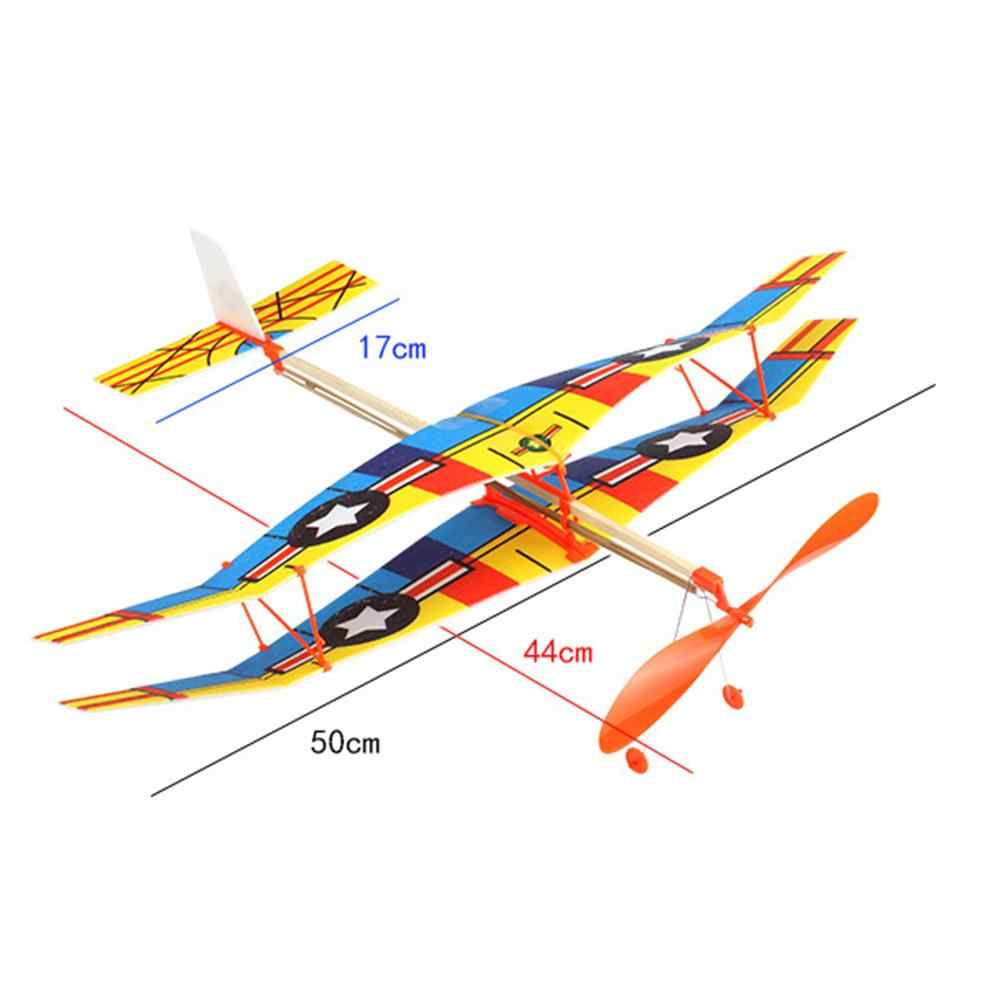 Elastic Rubber Band Powered Flying Airplane Plane Glider Assembly Model Toy