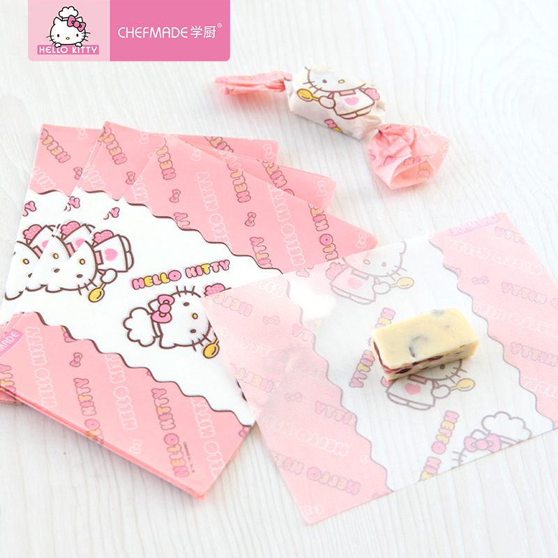 100pcs Hello Kitty Foodgrade Snowflakes Nougat Wrapping Sugar <font><b>Paper</b></font> Children's Favorite Candy Biscuit <font><b>Bag</b></font> Baking Packaging <font><b>Paper</b></font> image