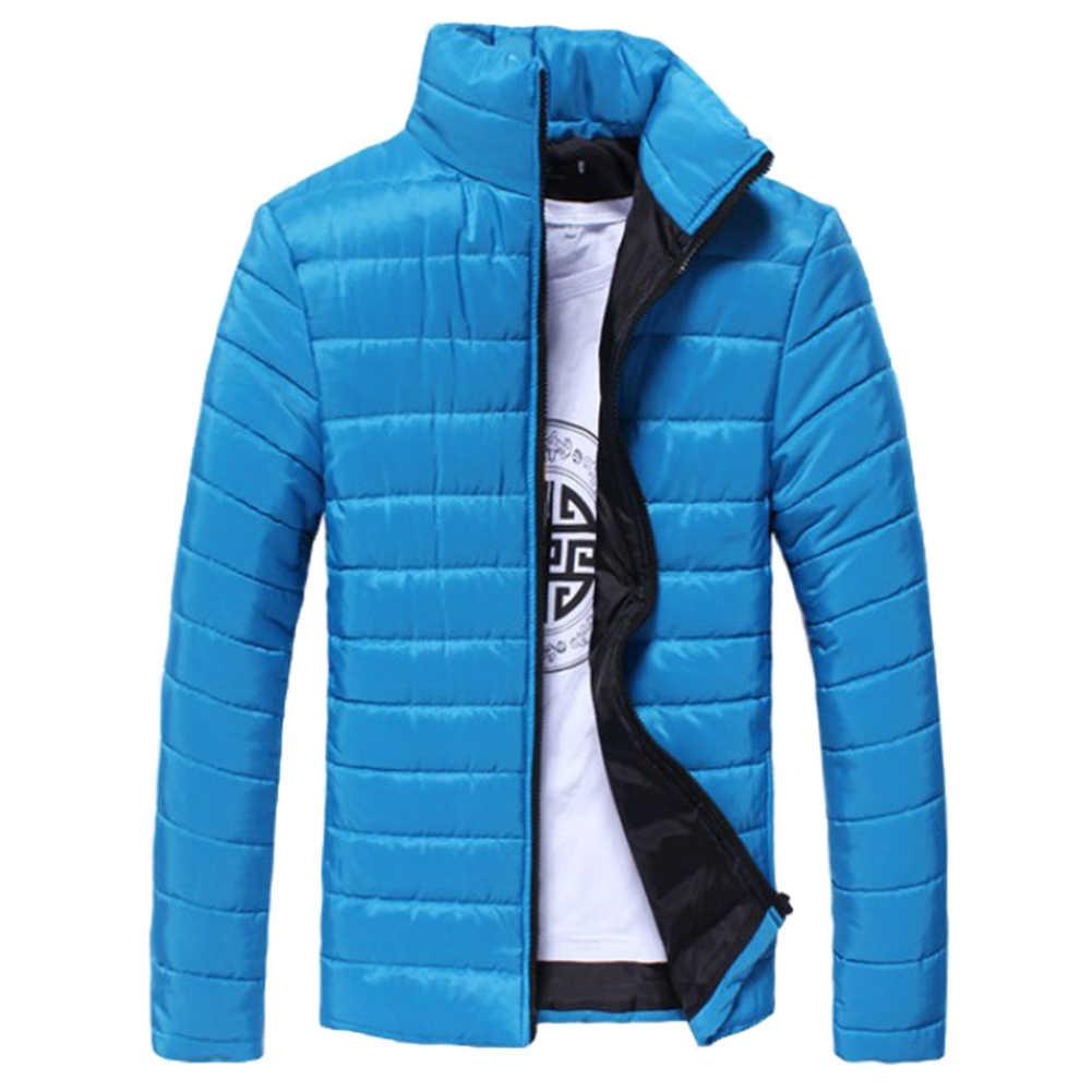 남성 코트 학생 솔리드 컬러 파커 스탠드 칼라 긴 소매 따뜻한 코튼 퀼트 코트 자켓
