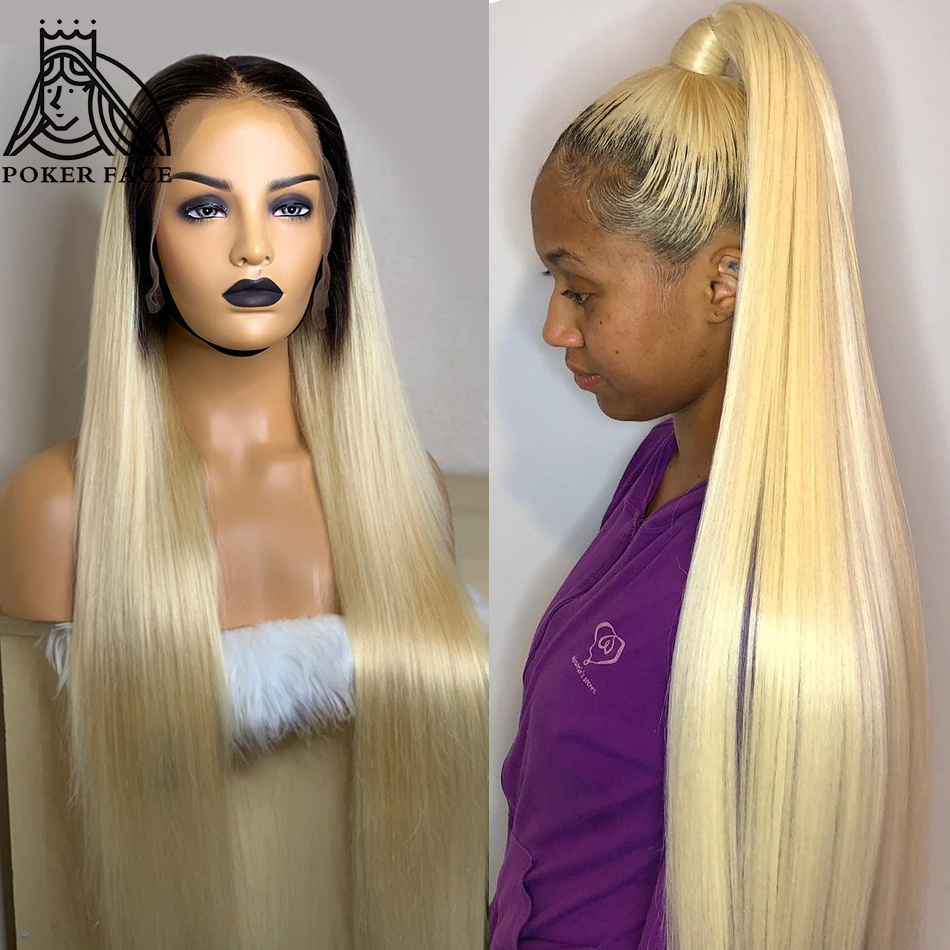 Poker Face Straight HD Transparent 1B/613 Blonde Lace Front Human Hair Wigs Glueless Lace Frontal Wig Pre Plucked With Baby Hair