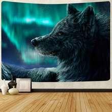 Simsant Animal Wolf Tapestry Aurora Borealis Mountain Art Wall Hanging Tapestries for Living Room Home Blanket Dorm Decor