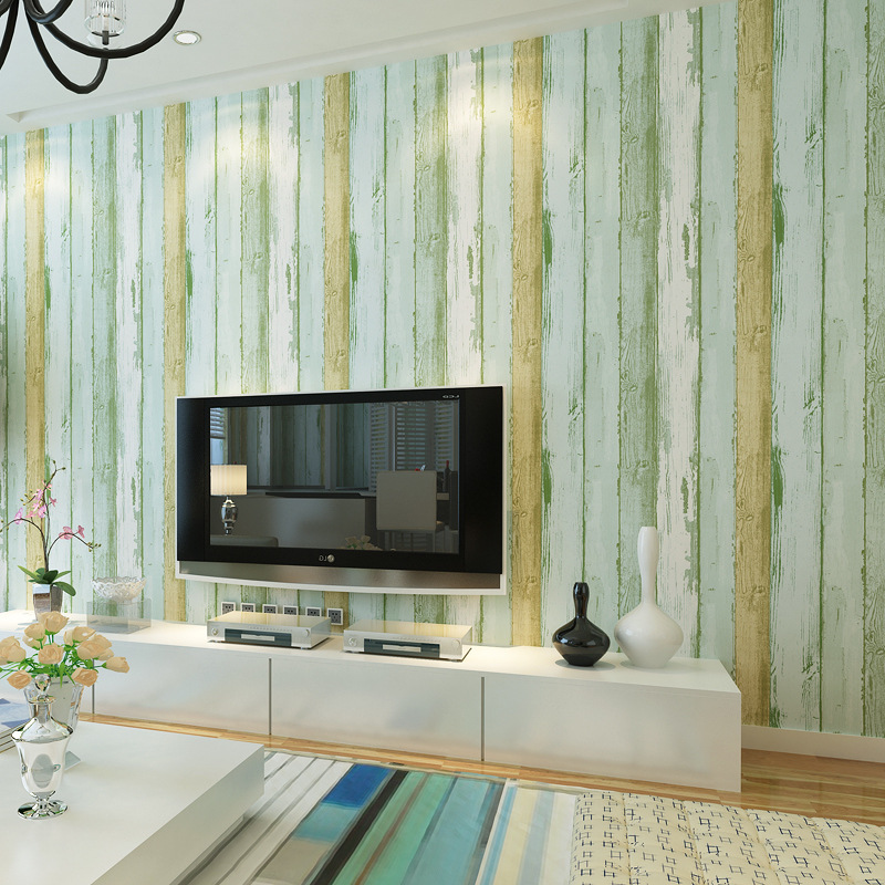 However Monarch Retro Mediterranean Wood Grain Wallpaper 3D Environmentally Friendly Nonwoven Fabric Light Blue Wood Color Bedro