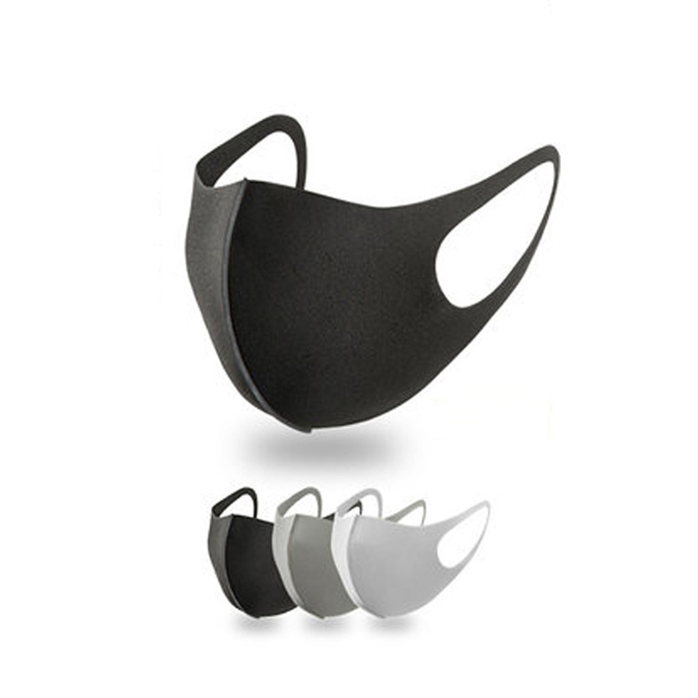 1/3 Pcs Black Mouth Mask Breathable Unisex Sponge Face Mask Reusable Anti Pollution Face Shield Wind Proof Mouth Cover