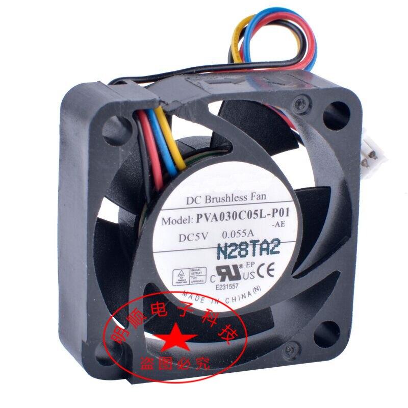 2 шт. вентилятор охлаждения для PVA030C05L-P01 3010 3 см 30 мм вентилятор 5V 0.055A 4-проводной 4Pin ноутбук крайне низкий уровень шума гидравлический вентиля...