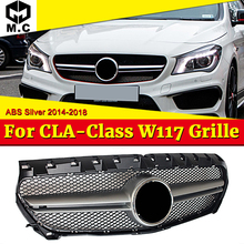 Fit For Mercedes Benz W117 Front Grille CLA-CLASS CLA180 CLA200 CLA250 CLA45 ABS Silver look Front Mesh Grille Car-Styling 14-16 цена