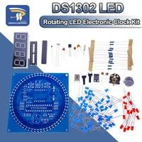 Módulo de reloj electrónico giratorio de alarma con pantalla LED, lámpara de agua, Kit artesanal de Control de luz, temperatura DS1302, C8051, MCU, STC15W408AS