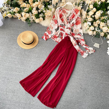 Fitaylor Summer New Women Floral V-neck Lace Chiffon Top High Waist Slim Solid Casual Wide-leg Pants Ladies Two Piece Set 1