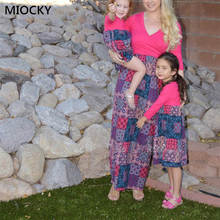 Autumn Family Matching Clothes Deep V-neck Geometric Print Half Sleeve Dress Mom and Daughter Look E0256