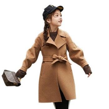 Children's outerwear girls' new autumn 2019 Korean girls' mid-length double-sided woollen overcoat ND007